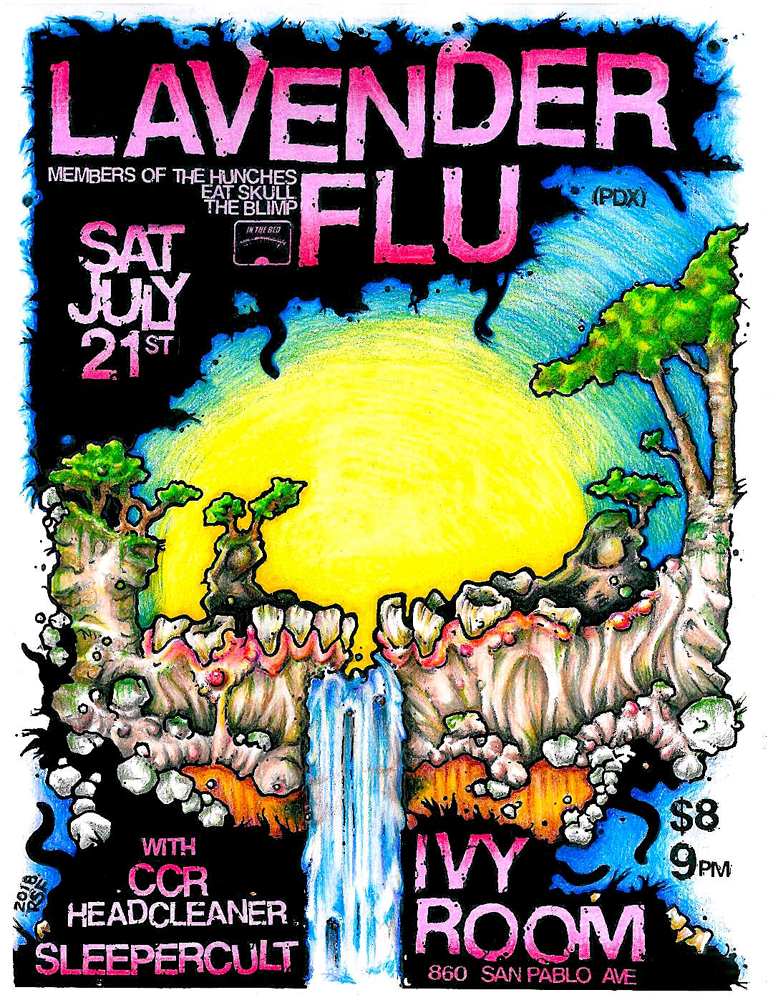 Lavender Flu CCRHeadcleaner Sleepercult Ivy Room 2018 In The Red Records Poster Flyer Rob Fletcher