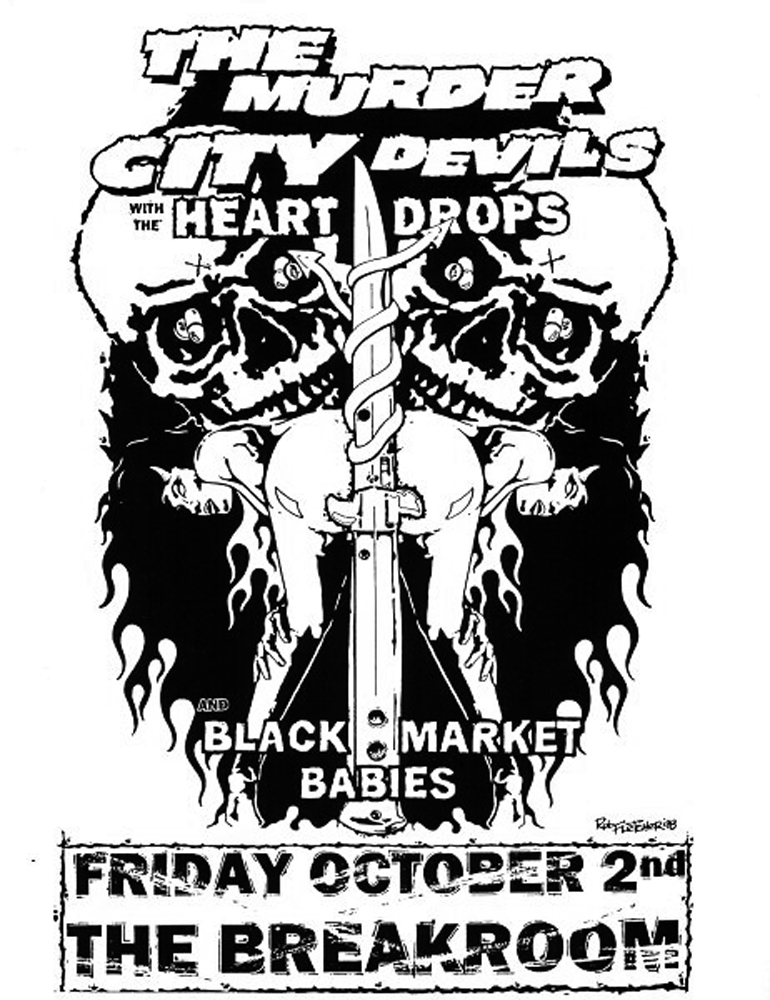 MurderCityDevils-TheHeartdrops-BlackMarketBabies-TheBreakroom-1998-Poster-Flyer-RobFletcher