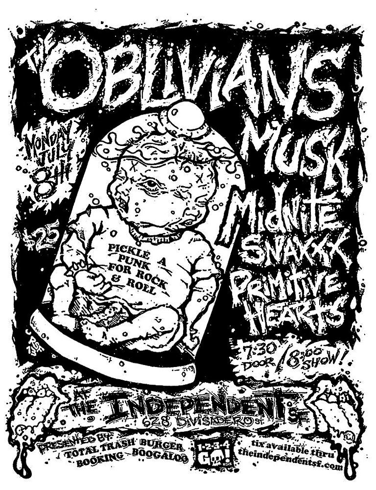 TheOblivians-CryptRecords-GarageRock-Gonerfest-Musk-MidniteSnaxxx-PrimitiveHearts-TheIndependent-2013-Poster-Flyer-RobFletcher