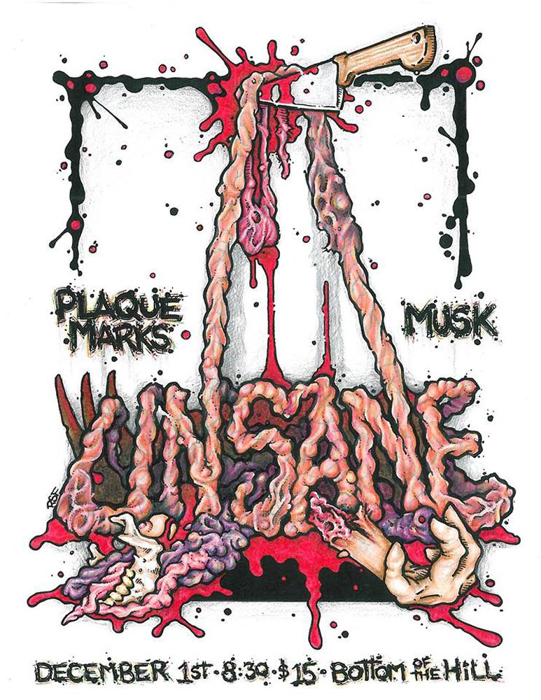 unsane-plaquemarks-musk-noiserock-poster-flyer-artwork-robfletcher-bottomofthehill-2017