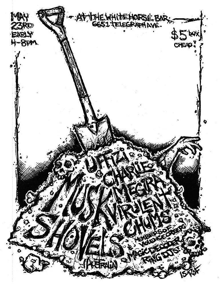 musk-shovels-uffizi-charliemegira-virulentchums-violencecreeps-noiserock-poster-flyer-artwork-robfletcher-whitehorsebar-2015