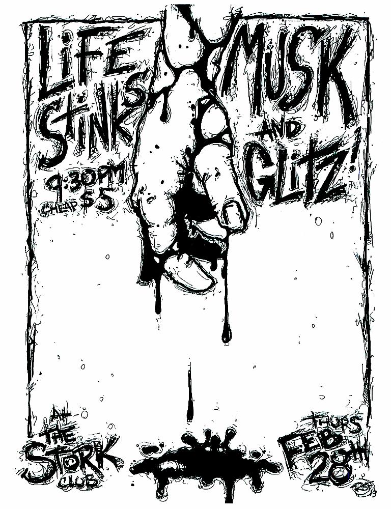 musk-lifestinks-glitz-noiserock-poster-flyer-artwork-robfletcher-storkclub-2013