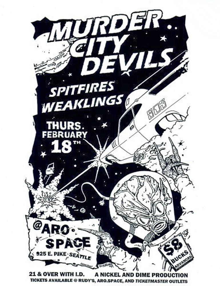 murdercitydevils-spitfires-poster-flyer-artwork-robfletcher-arospace-seattle-1999
