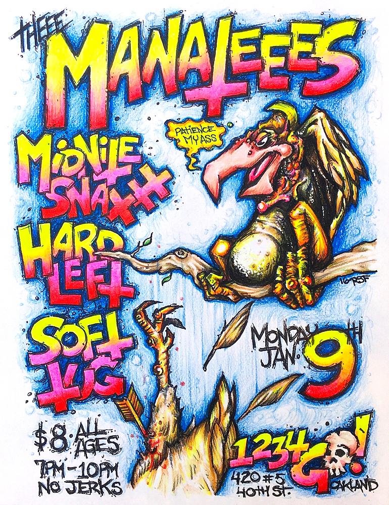 Manatees-MidnightSnaxxx-HardLeft-SoftTug-1234GoRecords-2016-Poster-Flyer-RobFletcher