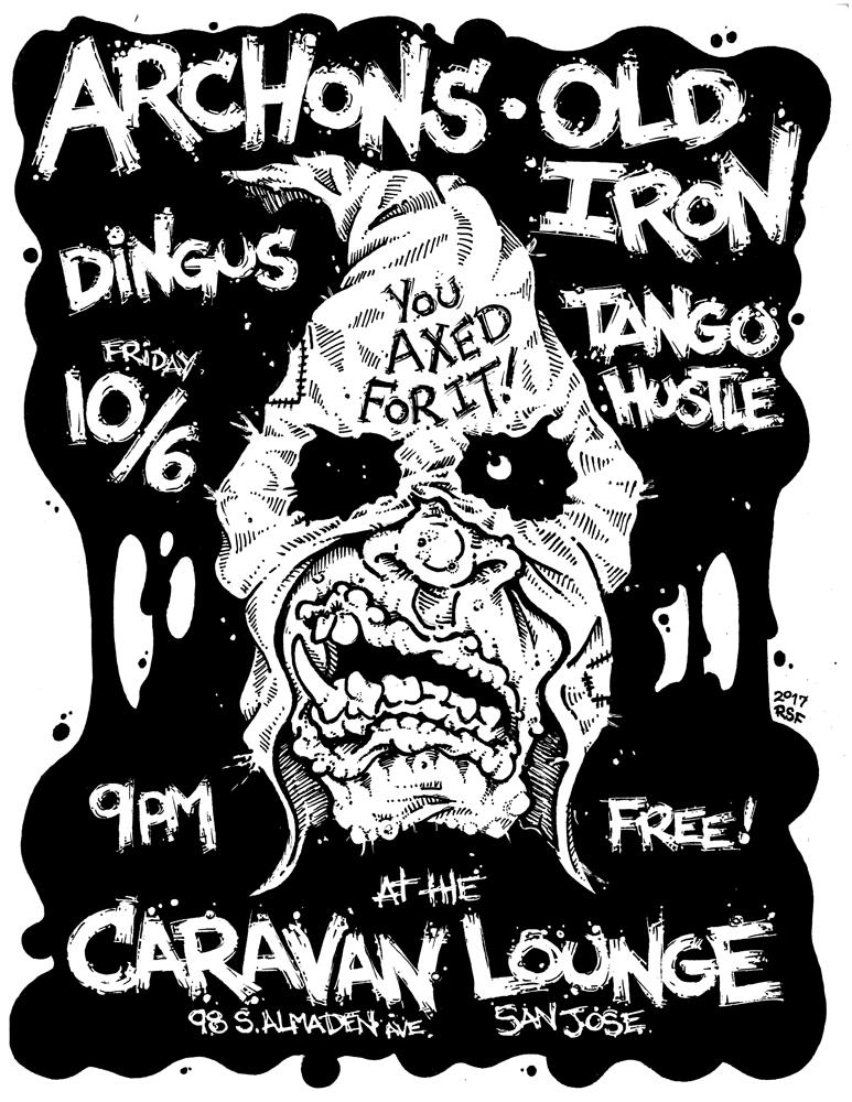 archons-oldiron-dingus-tangohustle-poster-flyer-artwork-robfletcher-caravanlounge-2017