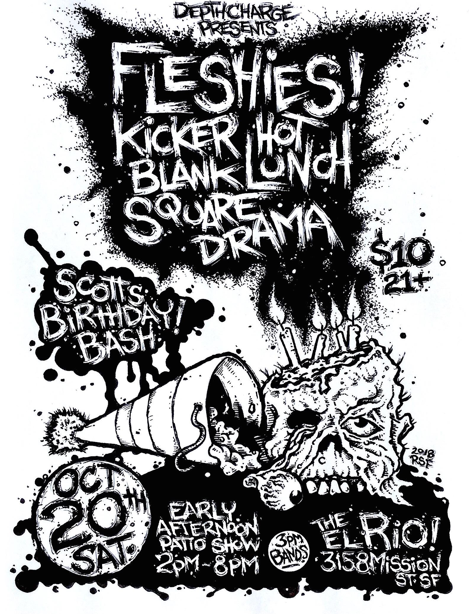 Fleshies Kicker HotLunch BlankSquare Drama El Rio 2018 Poster Flyer by Rob Fletcher
