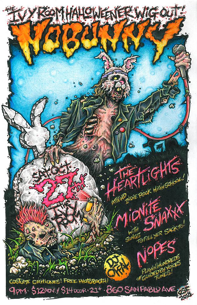 Nobunny-halloween-show-poster-flyer-artwork-ROBFLETCHER-garage-IvyRoom-2018