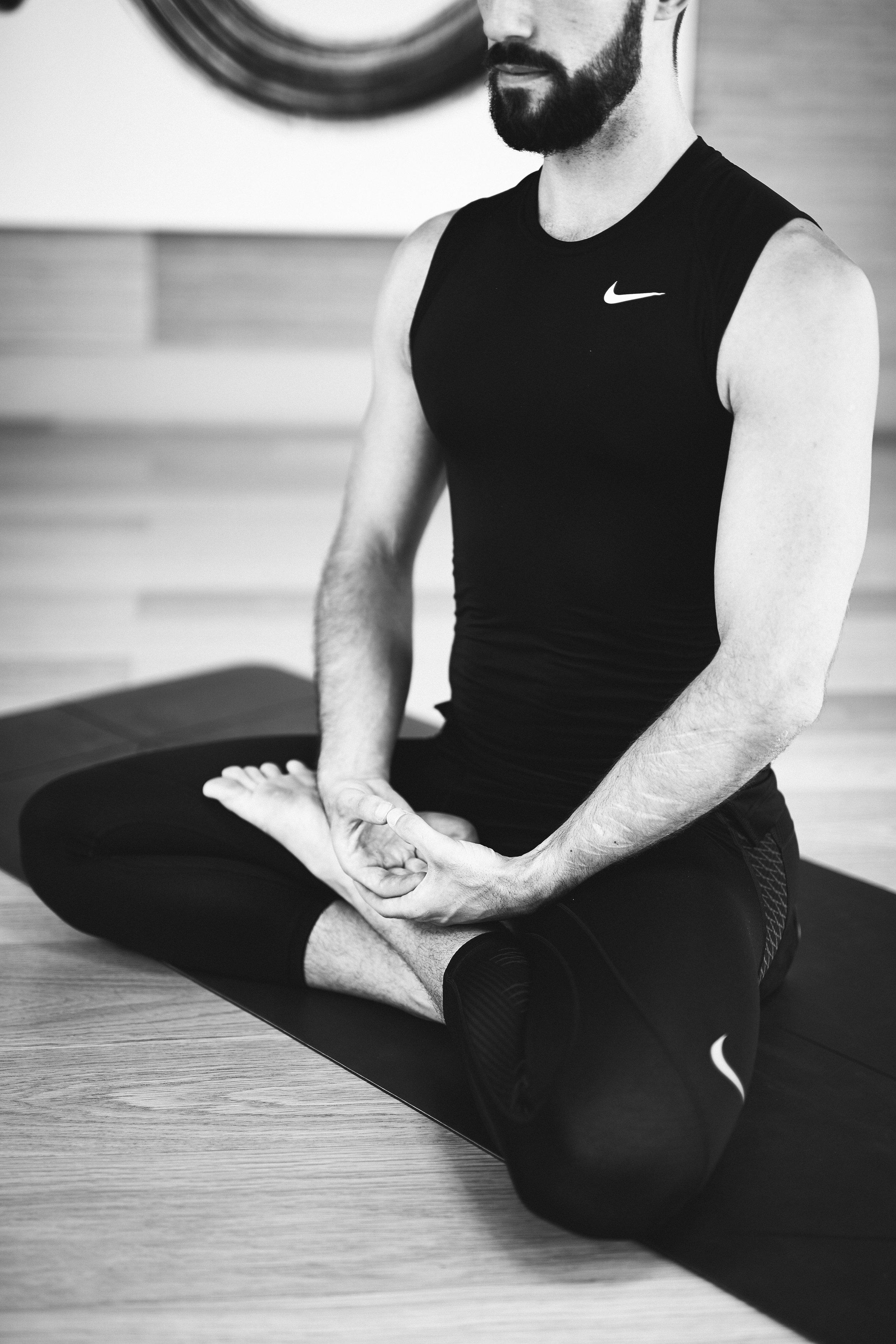Man meditating. Zen meditation hand position