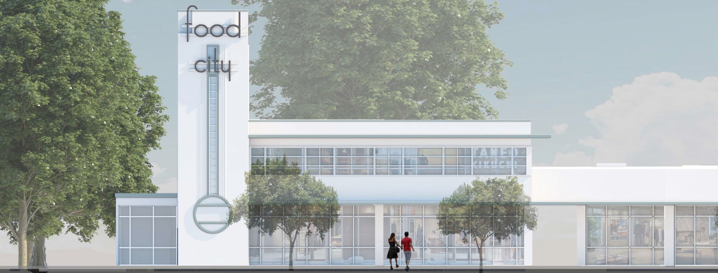 Conceptual Design of North Elevation of Historic Food City Building at Old Sonoma Road at Jefferson St in Napa, CA.  This image provided as a courtesy by Brooks-Street LLC and Grub LLC.