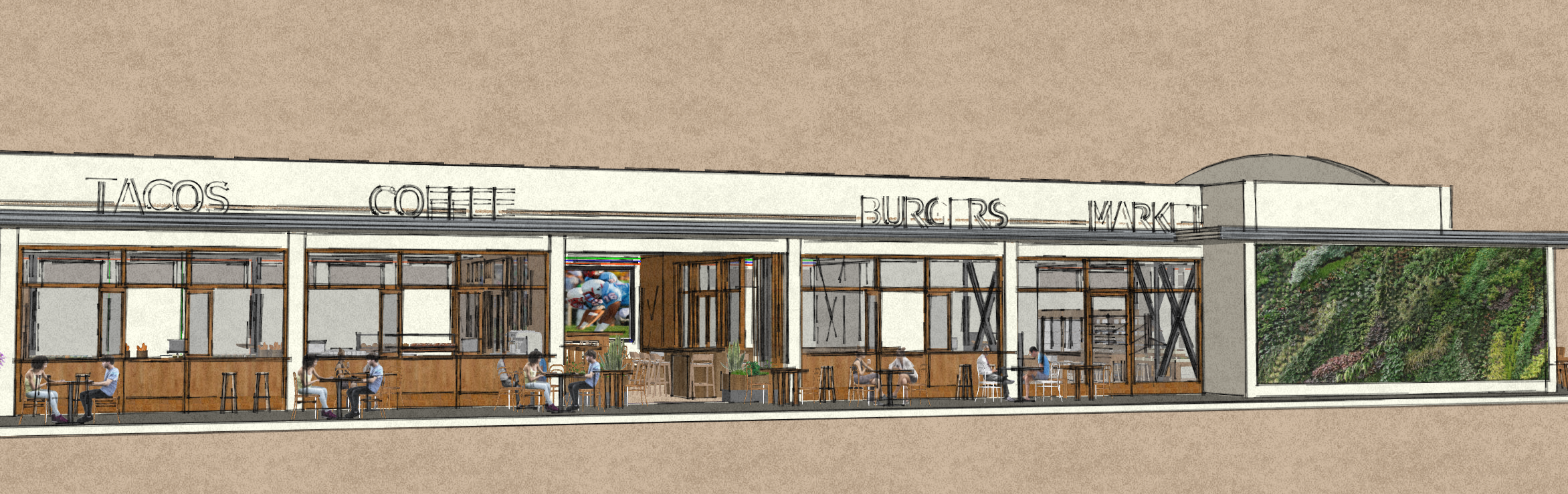 Conceptual North Elevation of Phase 1 of Historic Food City Building.  This image was created by Kelly & Morgan Architects for exclusive use by Grub LLC. All Rights Reserved.