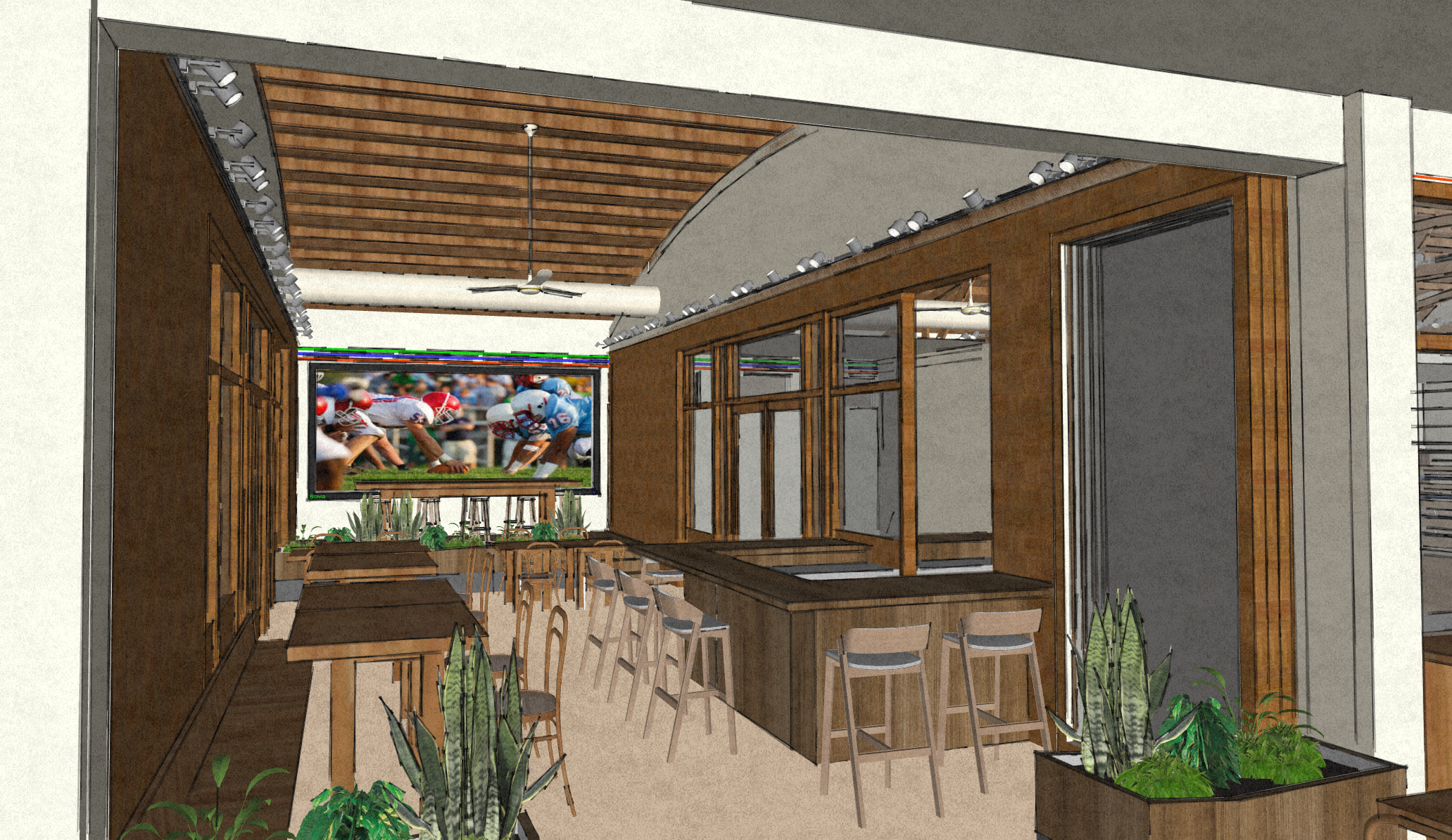 Conceptual interior image of Phase 1 of Historic Food City Building.  This image was created by Kelly & Morgan Architects for exclusive use by Grub LLC. All Rights Reserved.