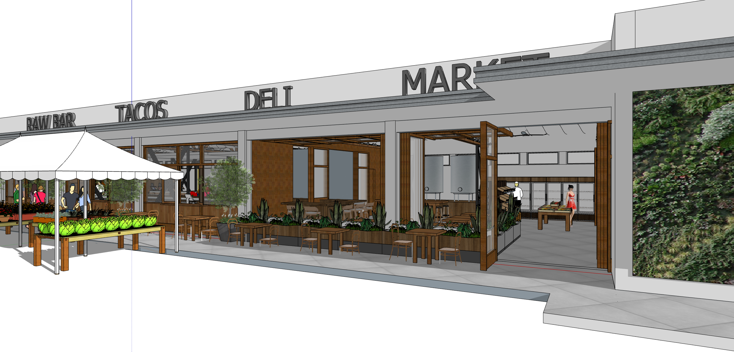Conceptual exterior image of Phase 1 of Historic Food City Building.  This image was created by Kelly & Morgan Architects for exclusive use by Grub LLC. All Rights Reserved.