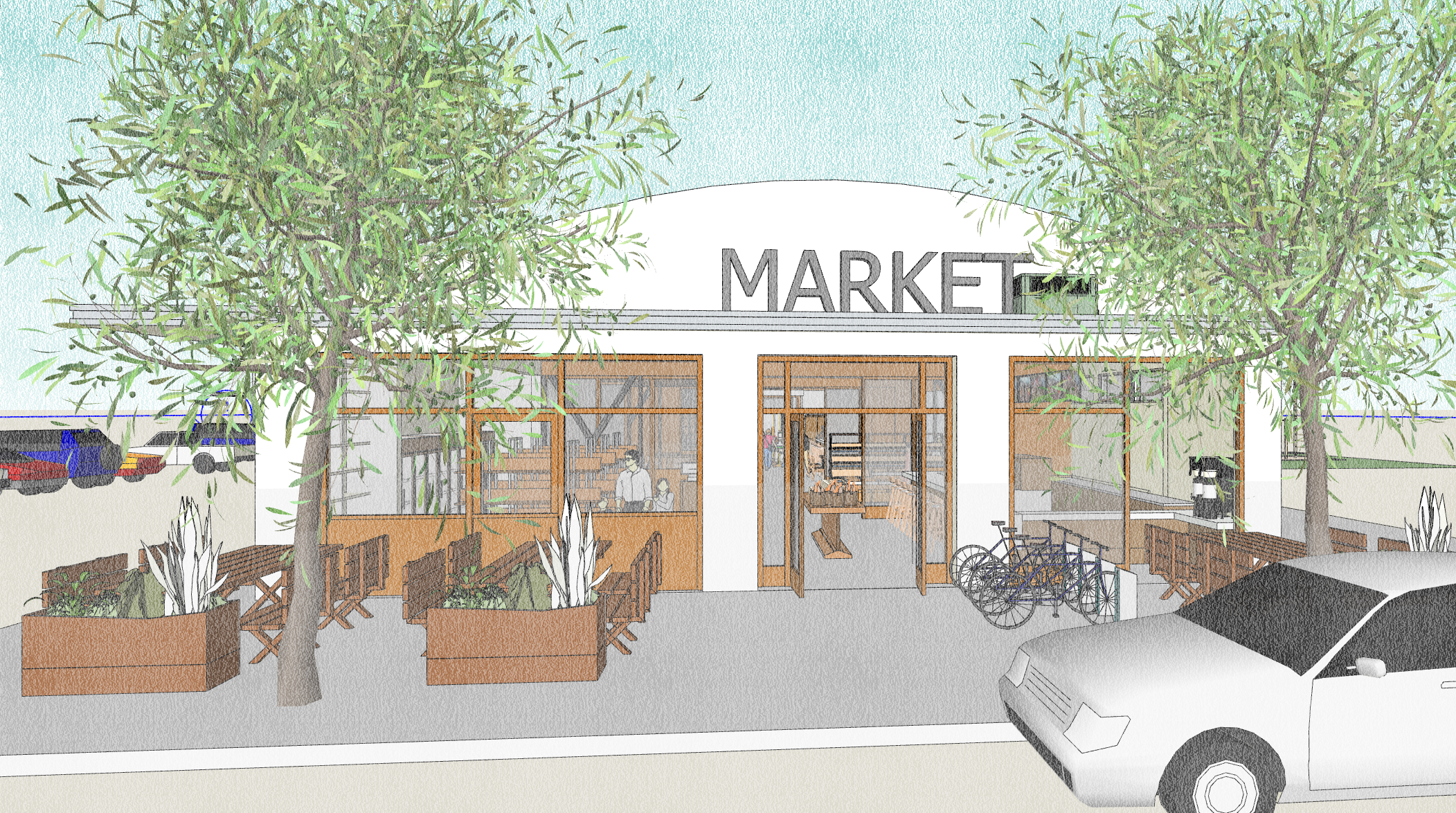 Conceptual exterior image of West Entrance at Hartson St., a potential part of Phase 1 of the Historic Food City Building.  This image was created by Kelly & Morgan Architects for exclusive use by Grub LLC. All Rights Reserved.