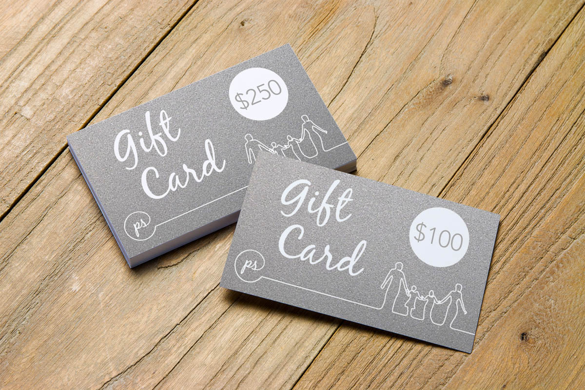 Gift Card denominations come in $50, $100, and $250.