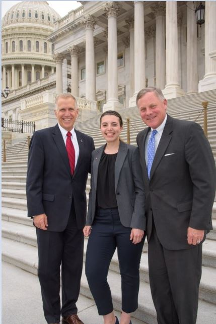 """Presenting at """"Posters on the Hill"""" April 2017 and meeting Senators Tom Tillis (left) and Richard Burr (right) on Capitol Hill."""