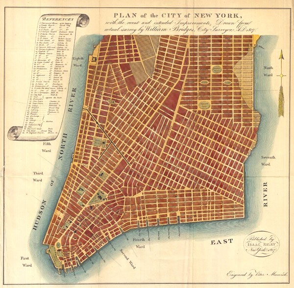 Plan of the City of New York, with the recent and intended Improvements, Drawn from actual survey by William Bridges City Surveyor; AD 1807.