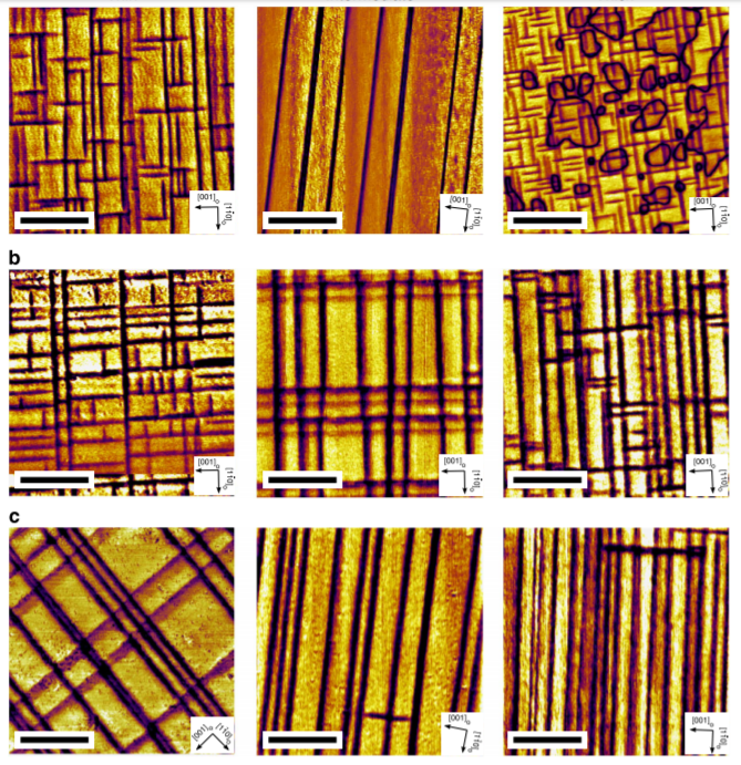 Domain walls of Lead zirconia titanate after various heat treatments. The periodic stripes are similar to city grids of New York. (Nature Communications, doi: 10.1038/ncomms5677).