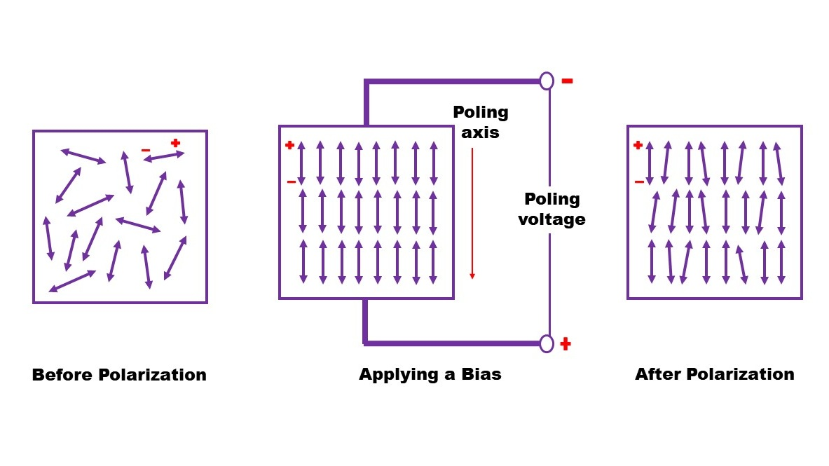 Ferroelectric domains represented as arrows will switch in the direction of a biasing field. The positive ends of the domain will face the negative bias and the negative ends will face the positive bias. After the bias is removed, most of the directionality will stay in the ferroelectric material.