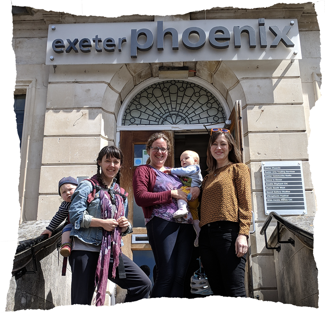 Holly Holt, Estelle Buckeridge and Lizzy Humber run a Mothers Who Make hub at Exeter Phoenix