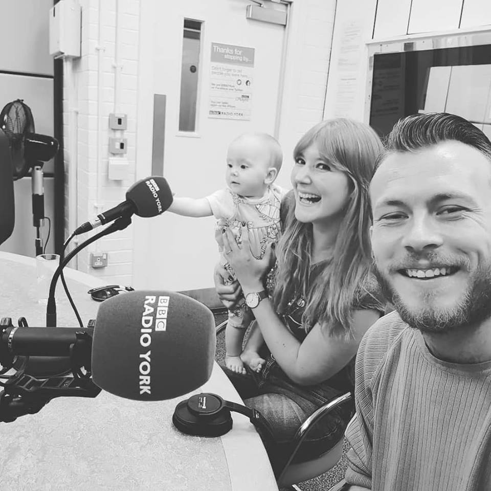 Anna on Radio York with youngest child