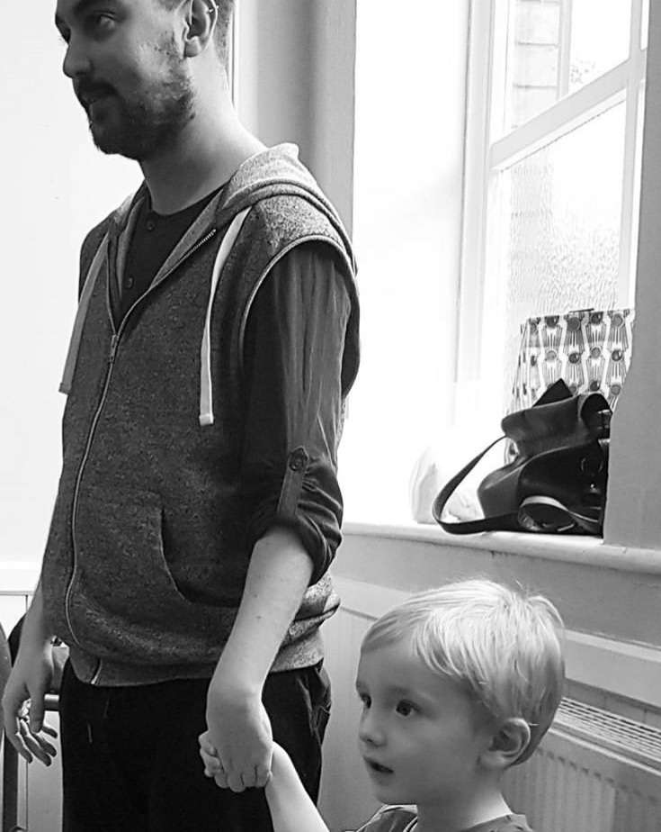 Matt with Anna's son during a rehearsal