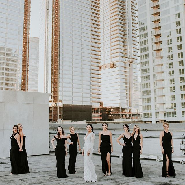 We're more than friends—we're like a really small gang!😎 #bridalparty #ootd #planprepparty  Planning: @planprepparty Photography: @jamilaree_photo  Dress+Veil: @adamzoharbridal Bridal Shop: @thewhitedresscouture  Makeup: @kelsey_long_artistry  Hair: @jasonhaiir  Venue: @hudsonloft