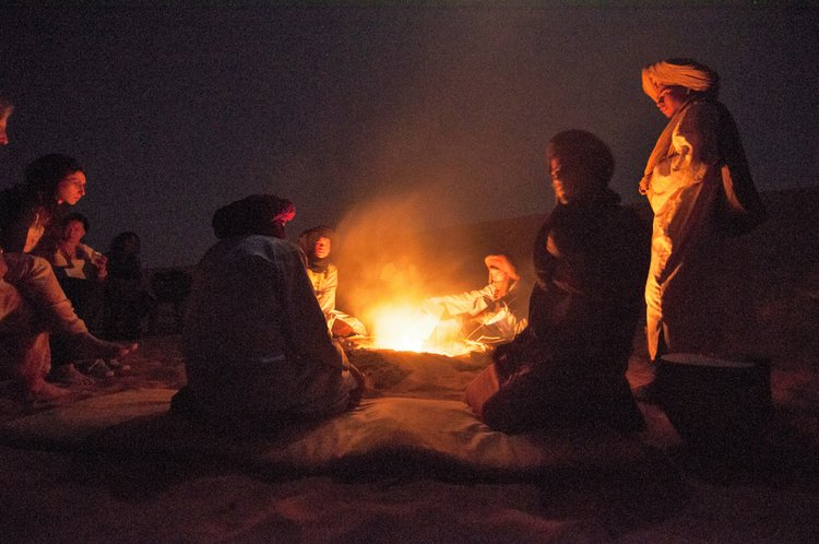 A campfire in the Sahara Desert.