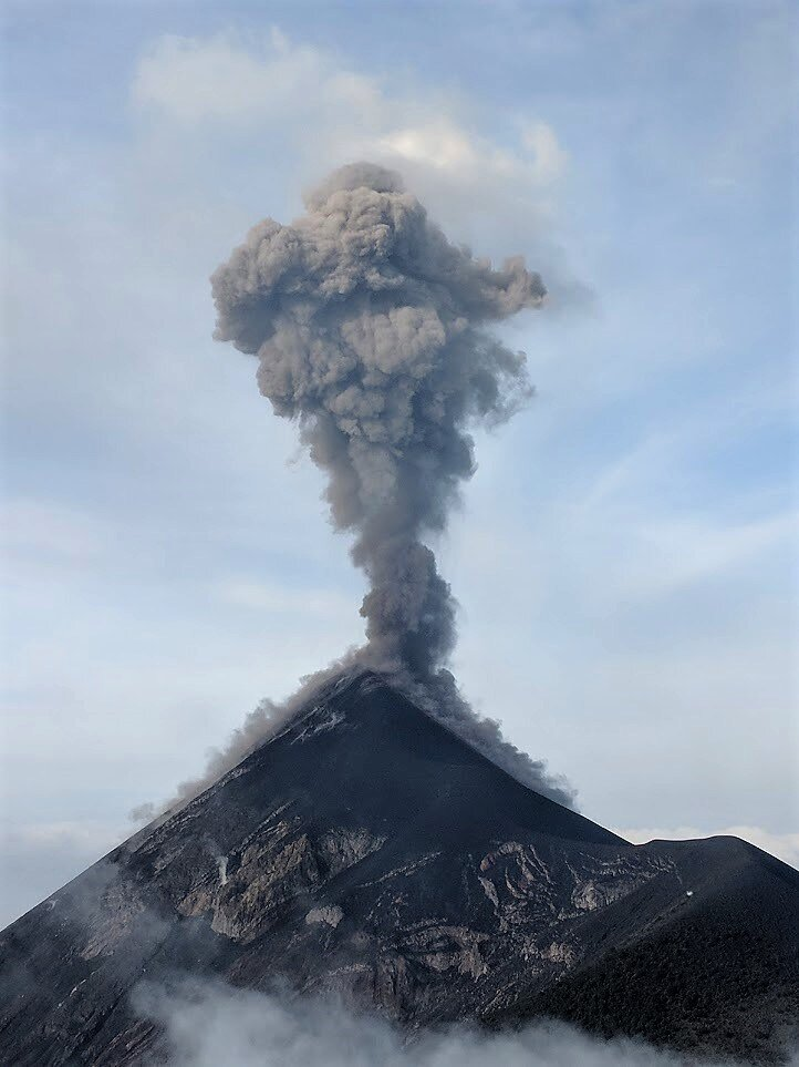 Volcan Fuego erupting. I took this after sleeping overnight at Volcan Acatenango's base camp.