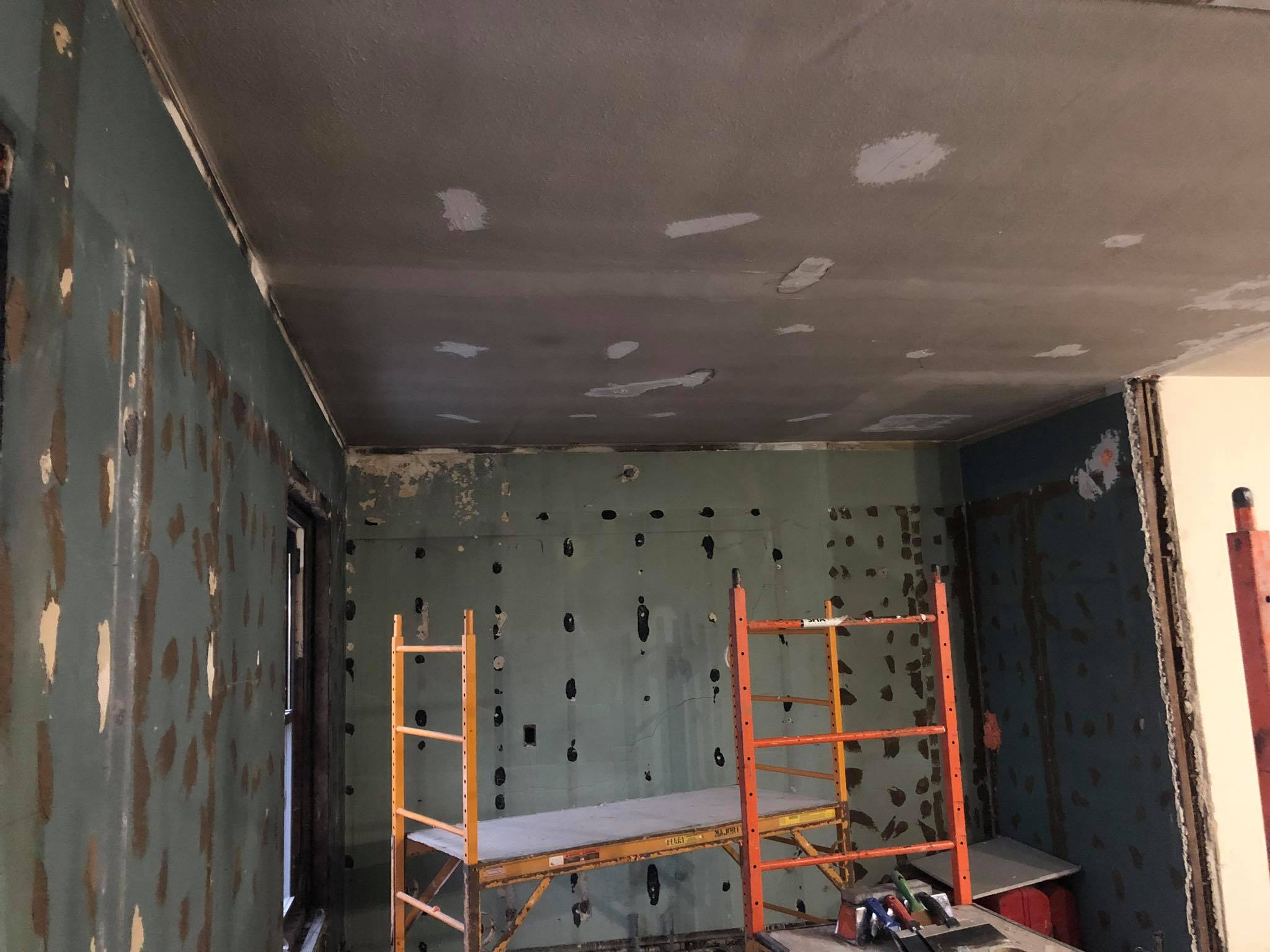 Re-plastering and installation of new ductwork for central heating and air conditioning is already underway!