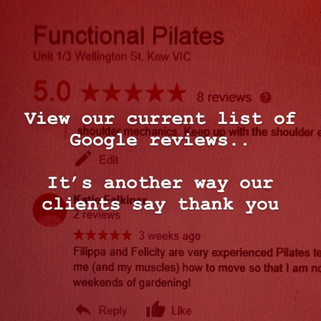 Google reviews is a way that some of our clients wish to say 'thank you'. On behalf of the team at Functional Pilates we feel privileged to be able to help you all find confidence in your bodies again. . .  #pilates #balance #pilatesbody #pilatesreformer #kewmums #mumslife #fitness #sportsinjuries #hawthorneast #stonnington #camberwell #functionalfitness #functionalmovement #pilateskew #kewmums #kew #hawthorn #backpain #northbalwyn #mums #reformerpilates #kewreformerpilates #hawthornpilates #pilatesbodystudio #hawthornbaby #pregnancyworkout #fitpregnancyworkout #bubs #mumandbubfitness #mumandbubsfitnessclasses #diastisrectiexercises