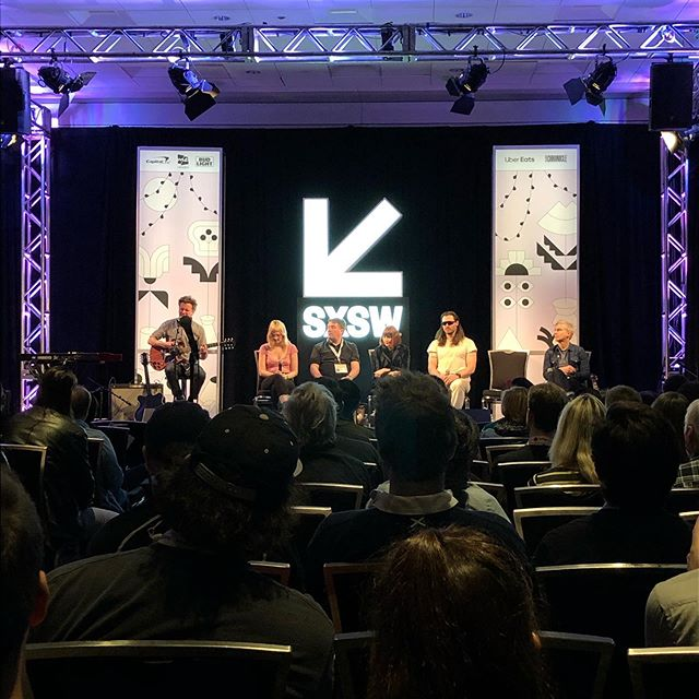 On the song writers panel with @macsuperchunk @nadasurf_official @andrewwk @karen.glauber @cherryglazerr @sxsw #music #love