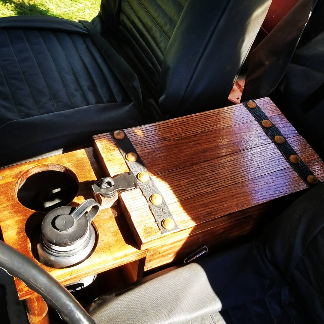 Custom made Treasure Chest Console for me 1985 Jeep CJ7 finished.