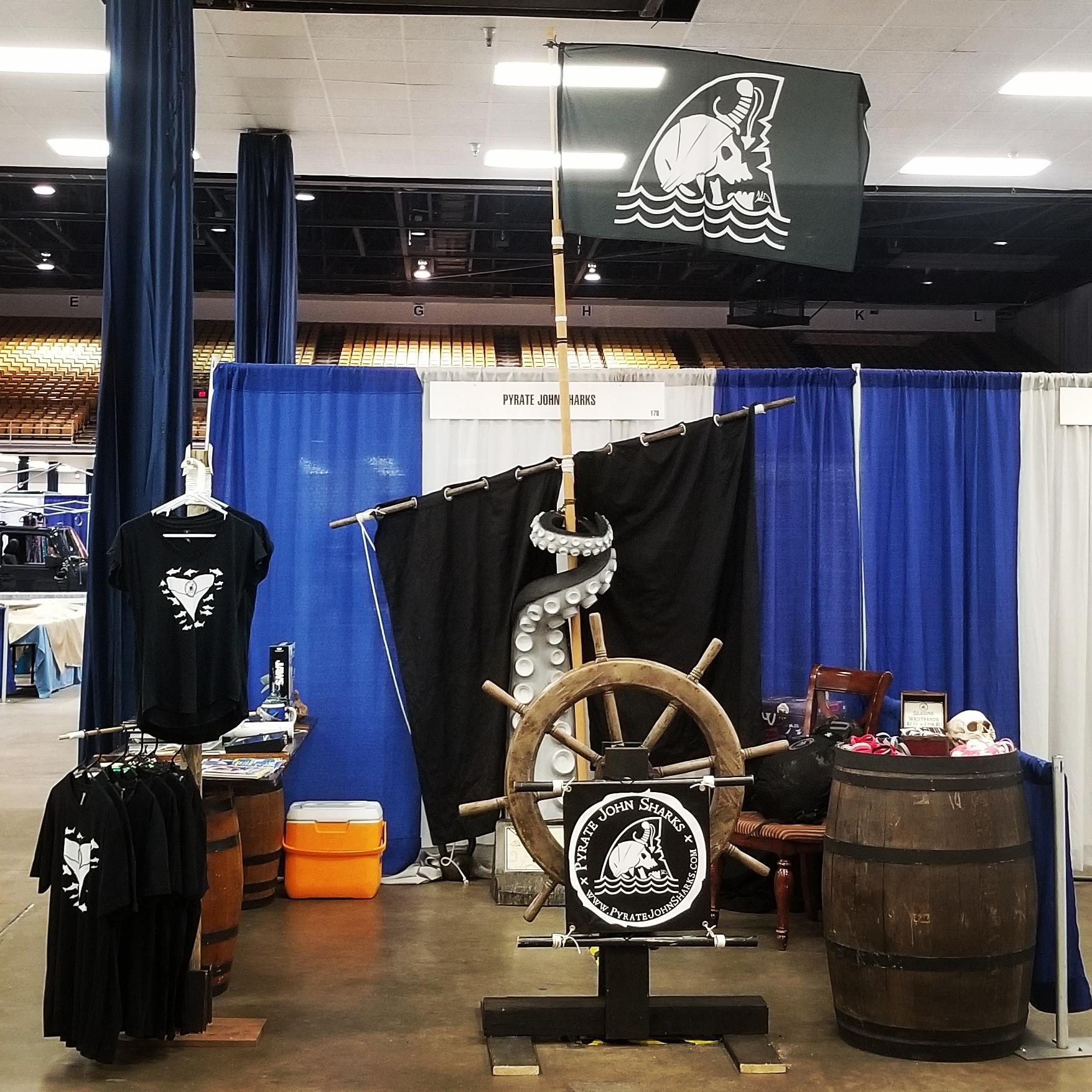 Pyrate John Sharks Shark Con 2018 booth setup.
