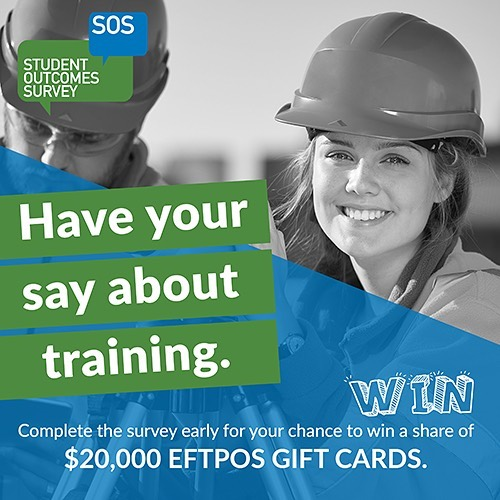 Did you complete training with us in 2018? If so, you may be invited to participate in the National Student Outcomes Survey, Australia's largest survey of VET students. Completing this survey will help to improve training courses and programs, and help students like yourself to make better decisions about their training options. Make sure to complete your survey early for more chances to WIN a share of $20,000! Invitations are now being sent to eligible students. Find out more: https://www.ncver.edu.au/support/support/faq/student-outcomes-survey-faqs
