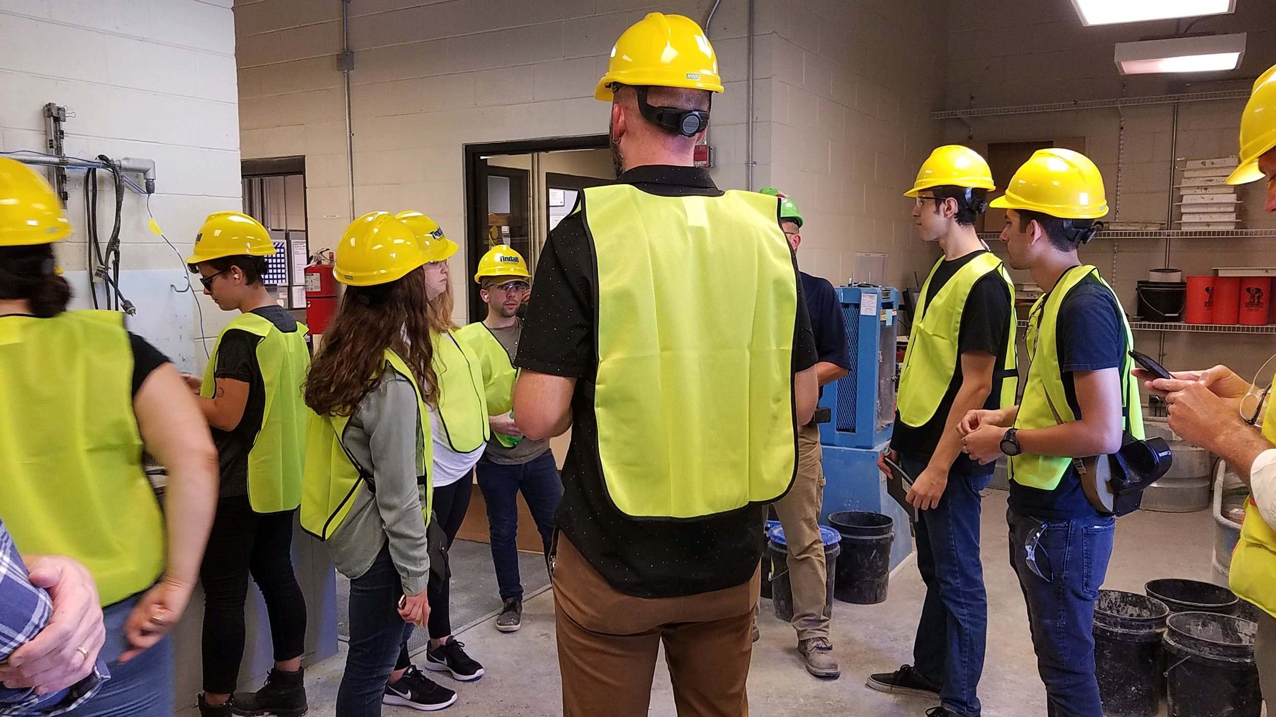 Tulane students learning about the quality control of precast products in Tindall's Quality Control Lab.