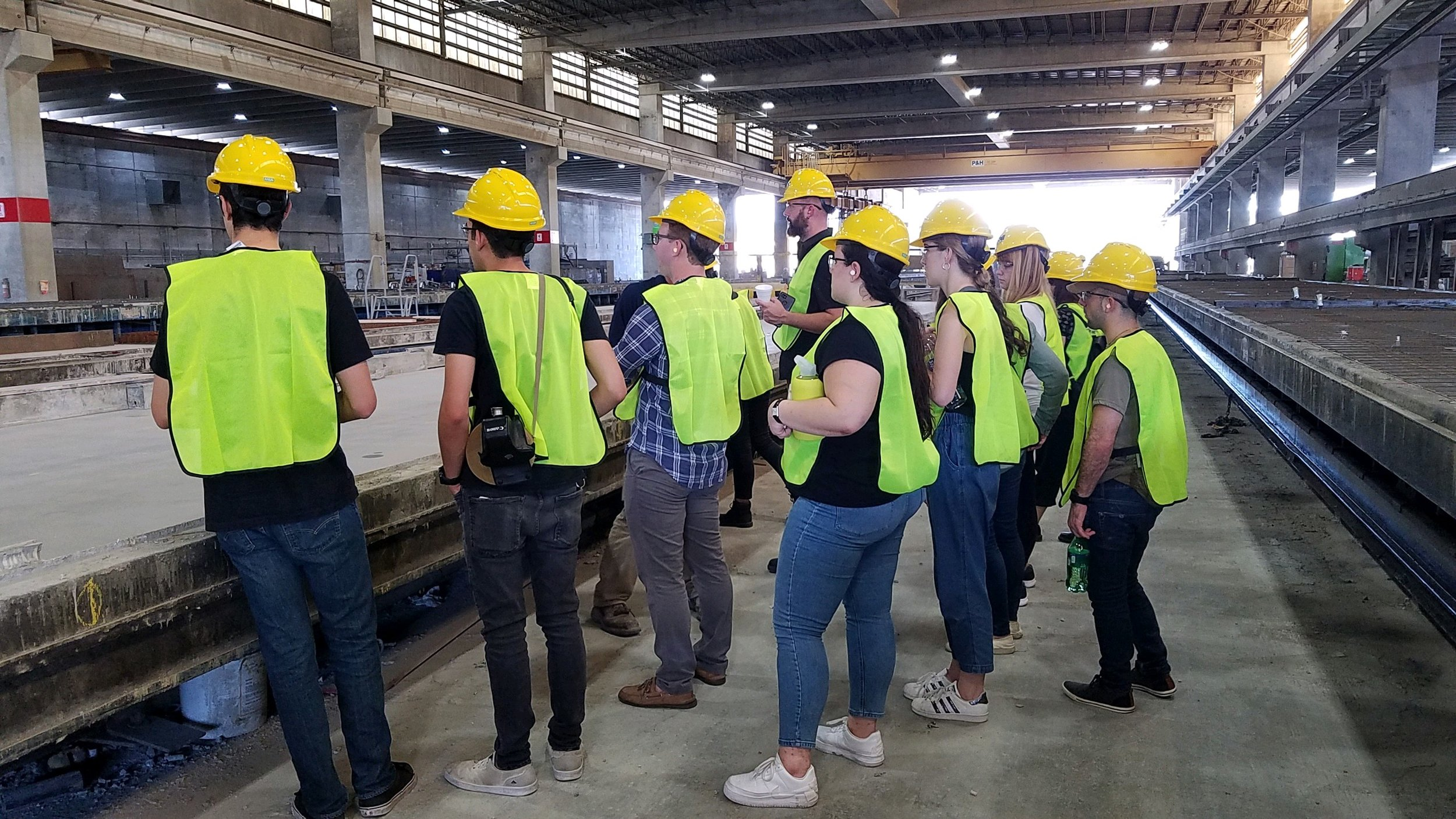 Tulane students overlook precast panels located in Tindall's lab.