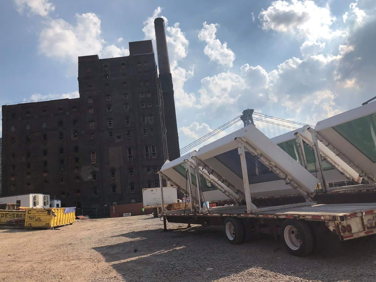3-D printed windows arriving at the Domino Sugar Refinery project site. Photo via  Gate Precast.