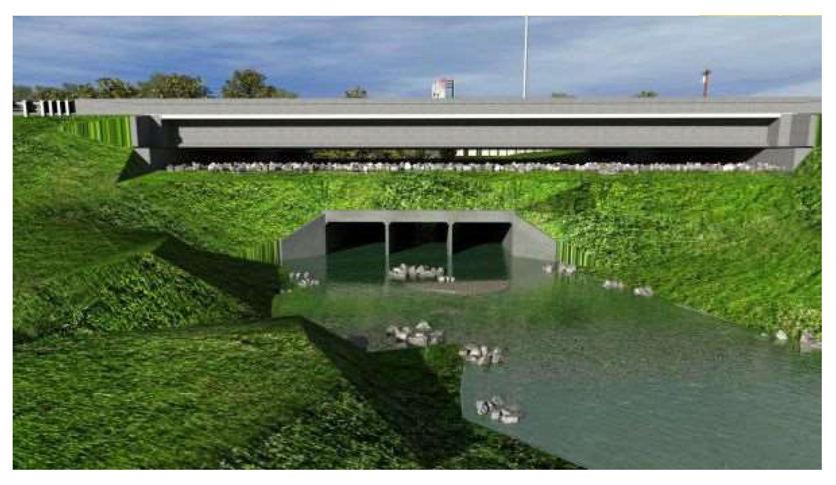 rendering of new bridge over culvert