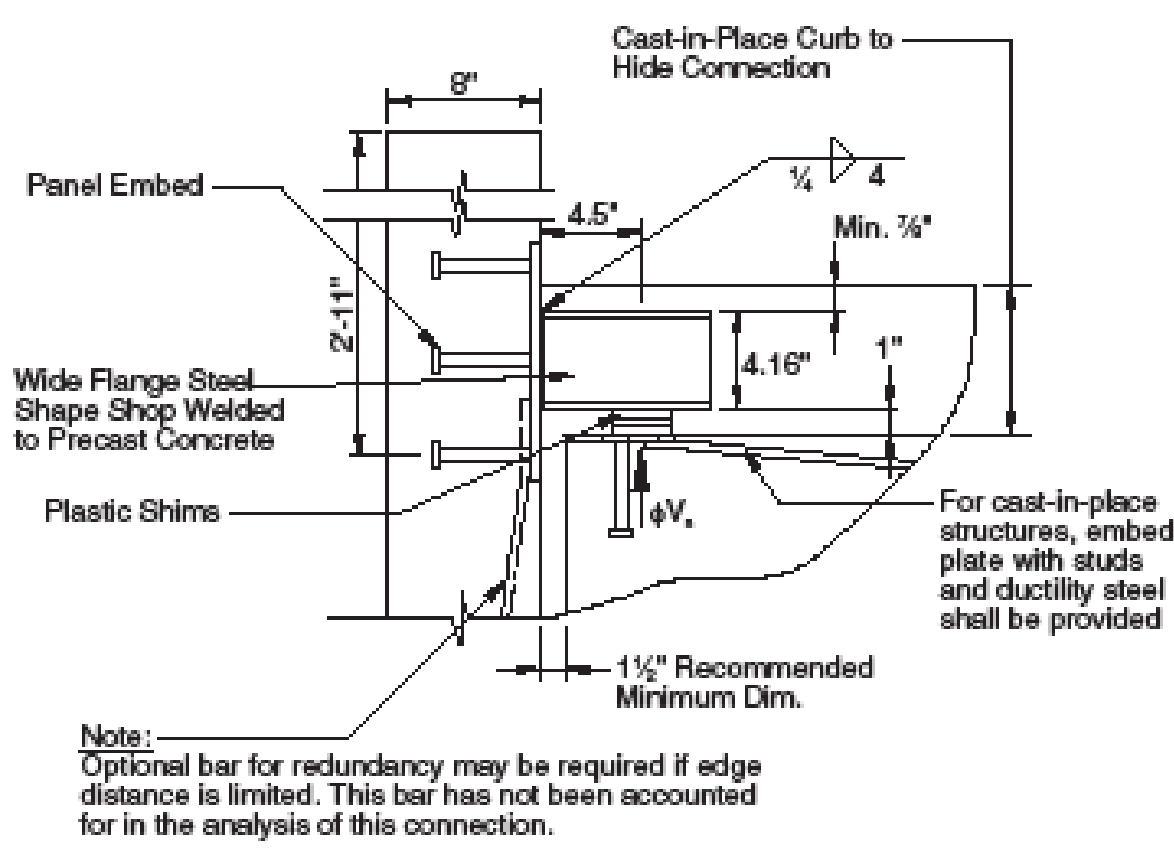 Figure 6c: Non-loadbearing wall panel connection.