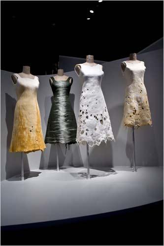 "Andrea Zittel's felt dresses displayed in Cooper-Hewitt's 2009 exhibition ""Fashioning Felt"""