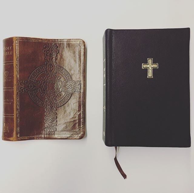 Soft cover Bible transformed into hard cover using genuine leather. . . . . #bible #leather #bcrbookbinding #cometobcr #hardcover #book #bookworm #binding #bookbinding