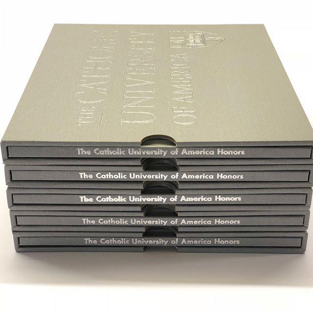 Books and Boxes for The Catholic University of America . . . . #cometobcr #hardcover #bookworm #book #box #catholic #university #catholicuniversity #thecatholicuniversityofamerica #catholicuniversityofamerica #grey #cloth #design #books #bookstagram