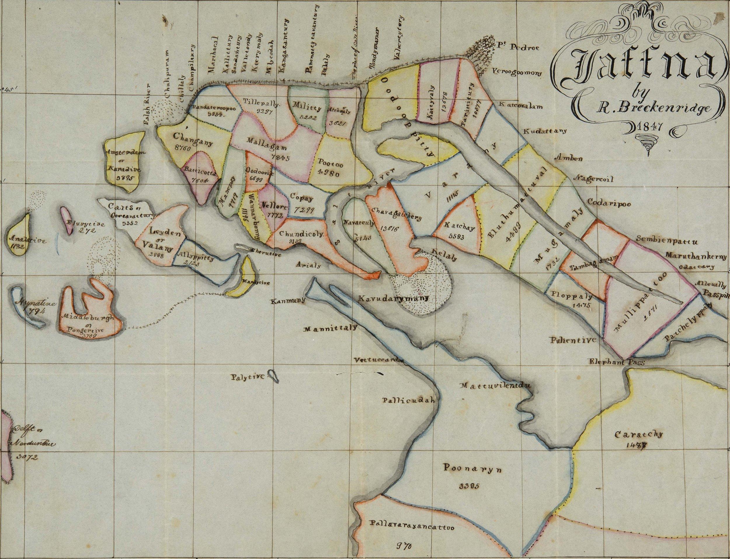 """Jaffna,"" Robert Breckenridge, 1847. Source: Mount Holyoke Archives"