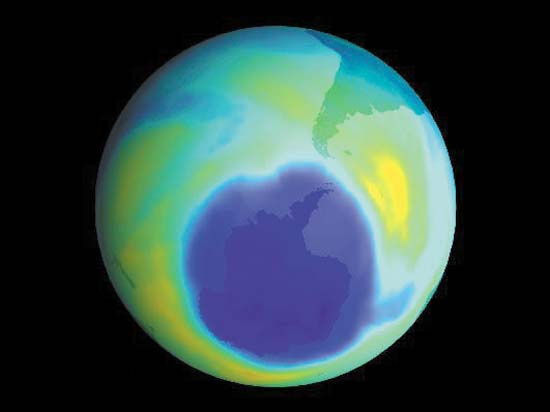 This is a NASA image of the Antarctic ozone hole. Protection of the ozone layer, achieved by the Montreal Protocol, is a critical global public good.