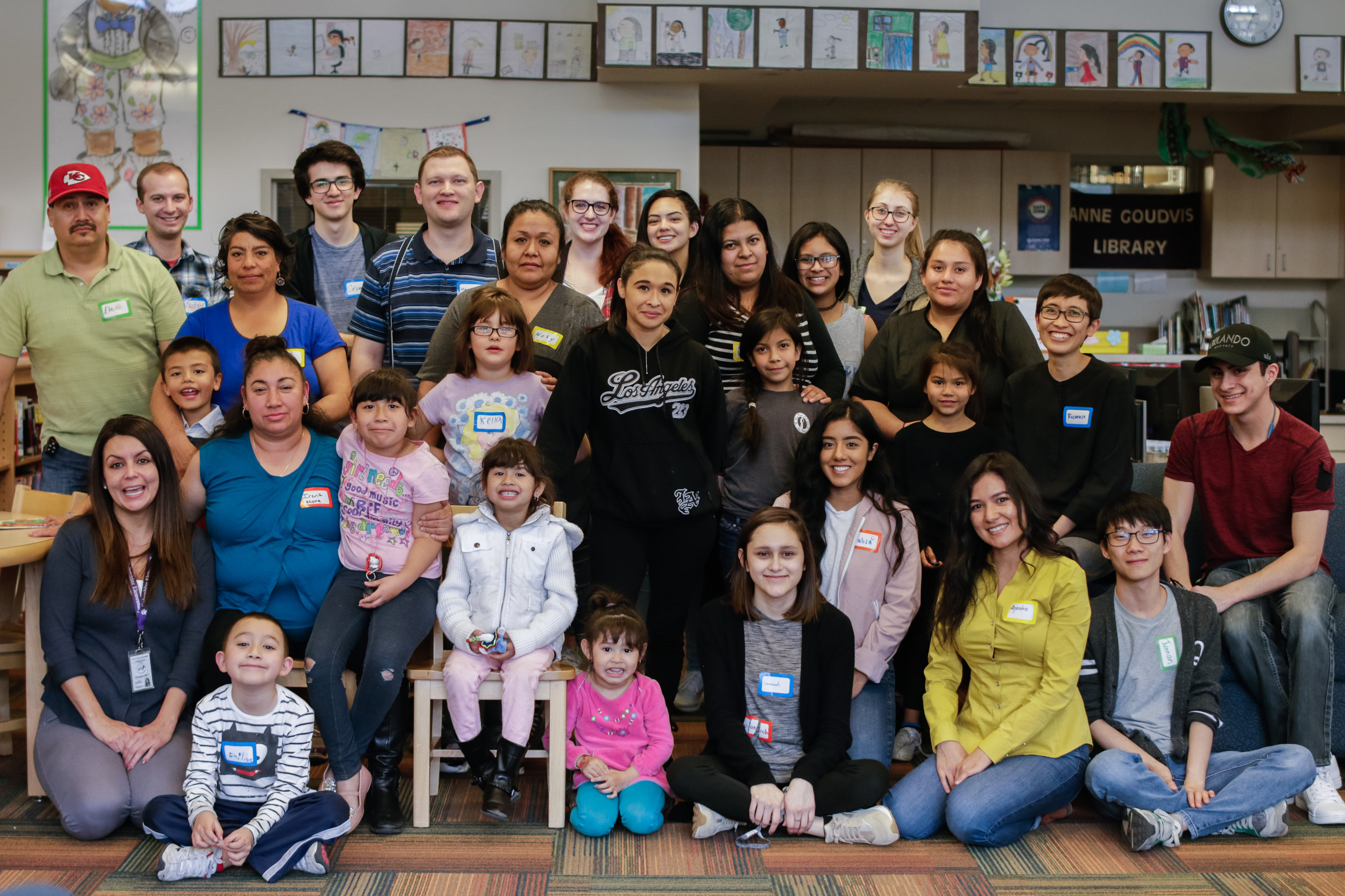 Group photo with families participating in a Family Creative Learning workshop series at Columbine Elementary in Boulder, CO.