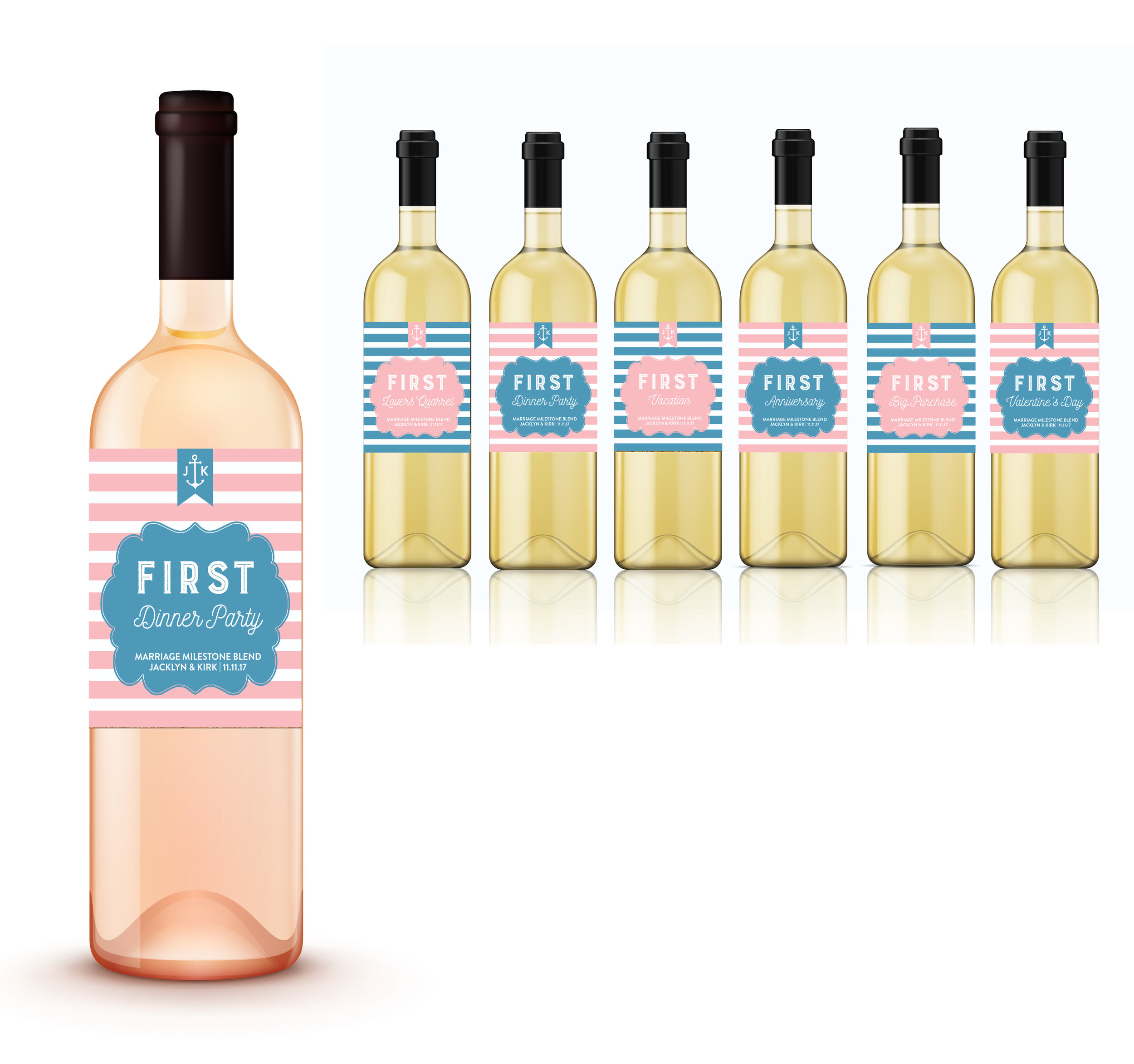 Nautical Marriage Milestones Firsts Wine Labels First Year Married Gift Wine Labels Style 118 Lovely Little Party