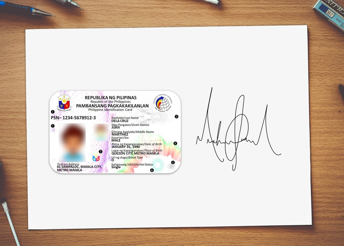 Sample Signature Photo: Your ID on one side and signature on another