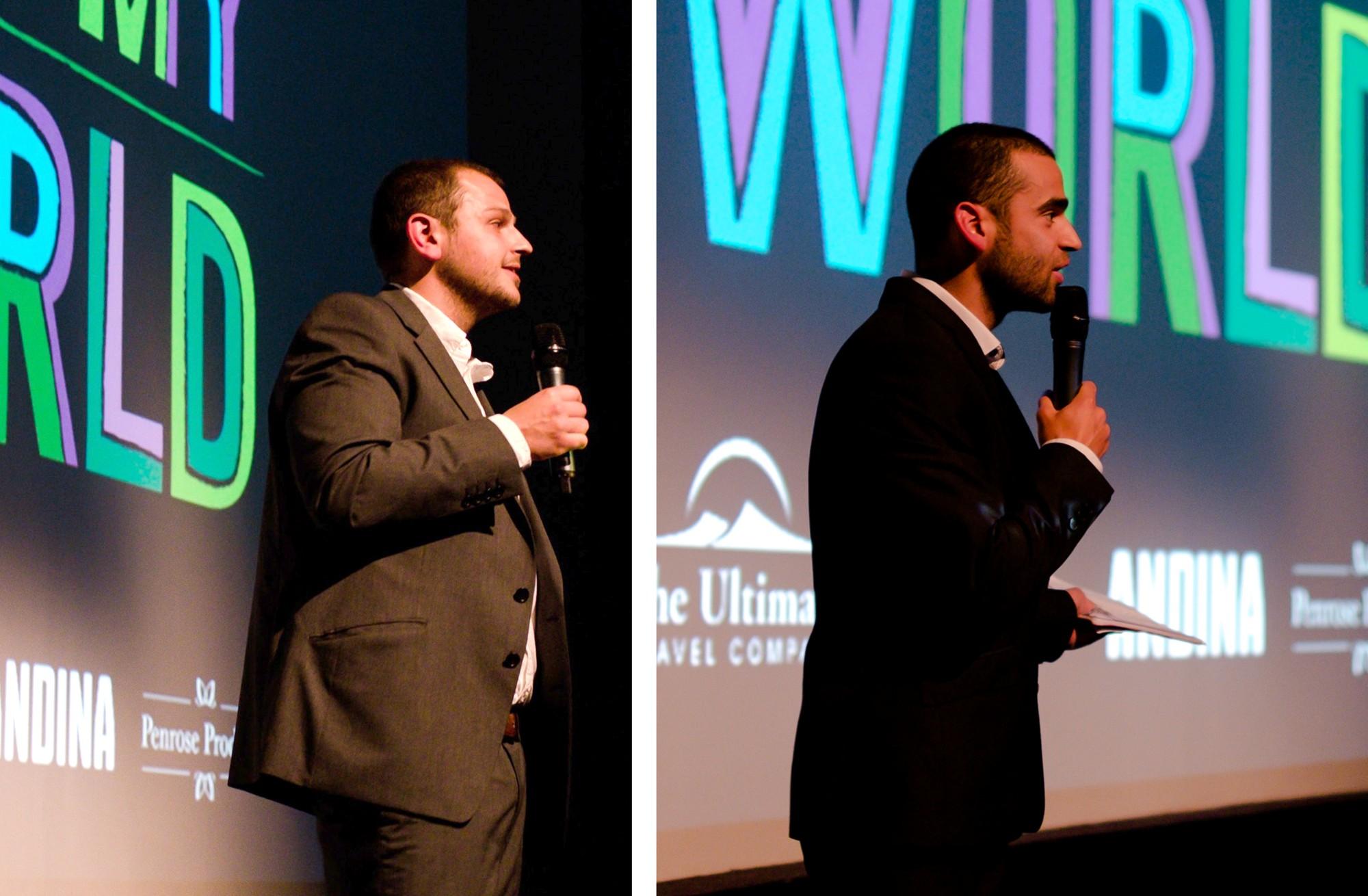Los co-directores de Amantani Chris y Fred estuvieron presentes para hablar sobre el concepto de Meet m World.  (Foto: Melissa North)