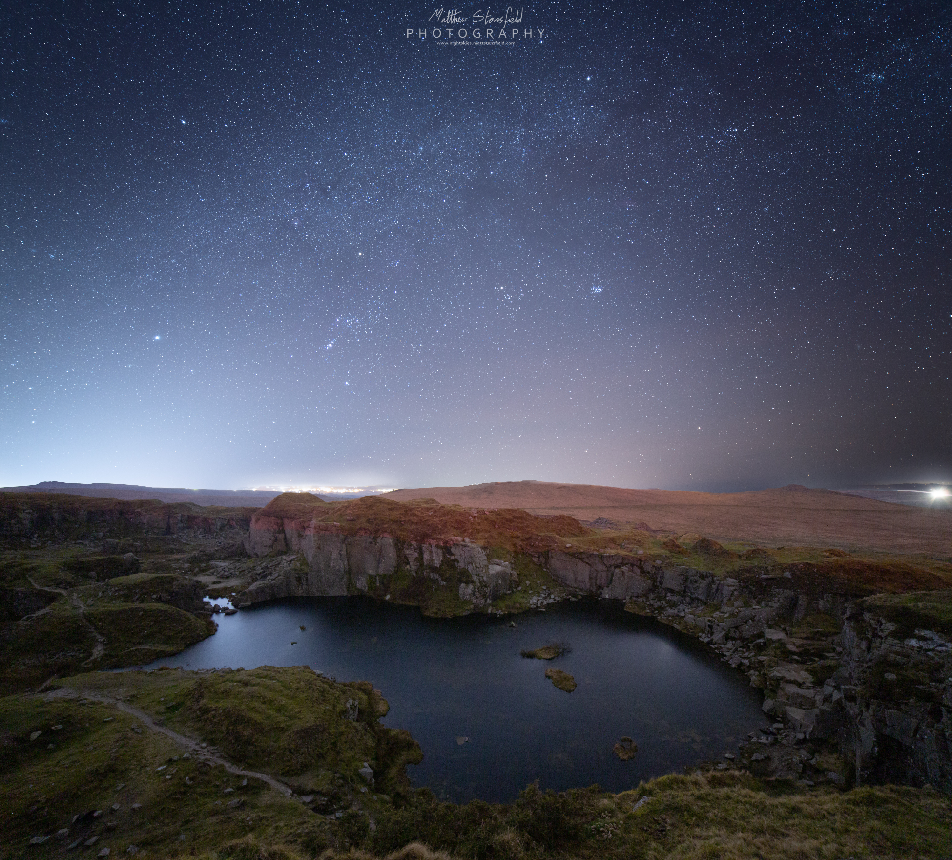 Foggingtor Quarry - ISO 800, F2.8, 240 seconds for the sky. ISO 1600, F2.8, 320 second exposure.