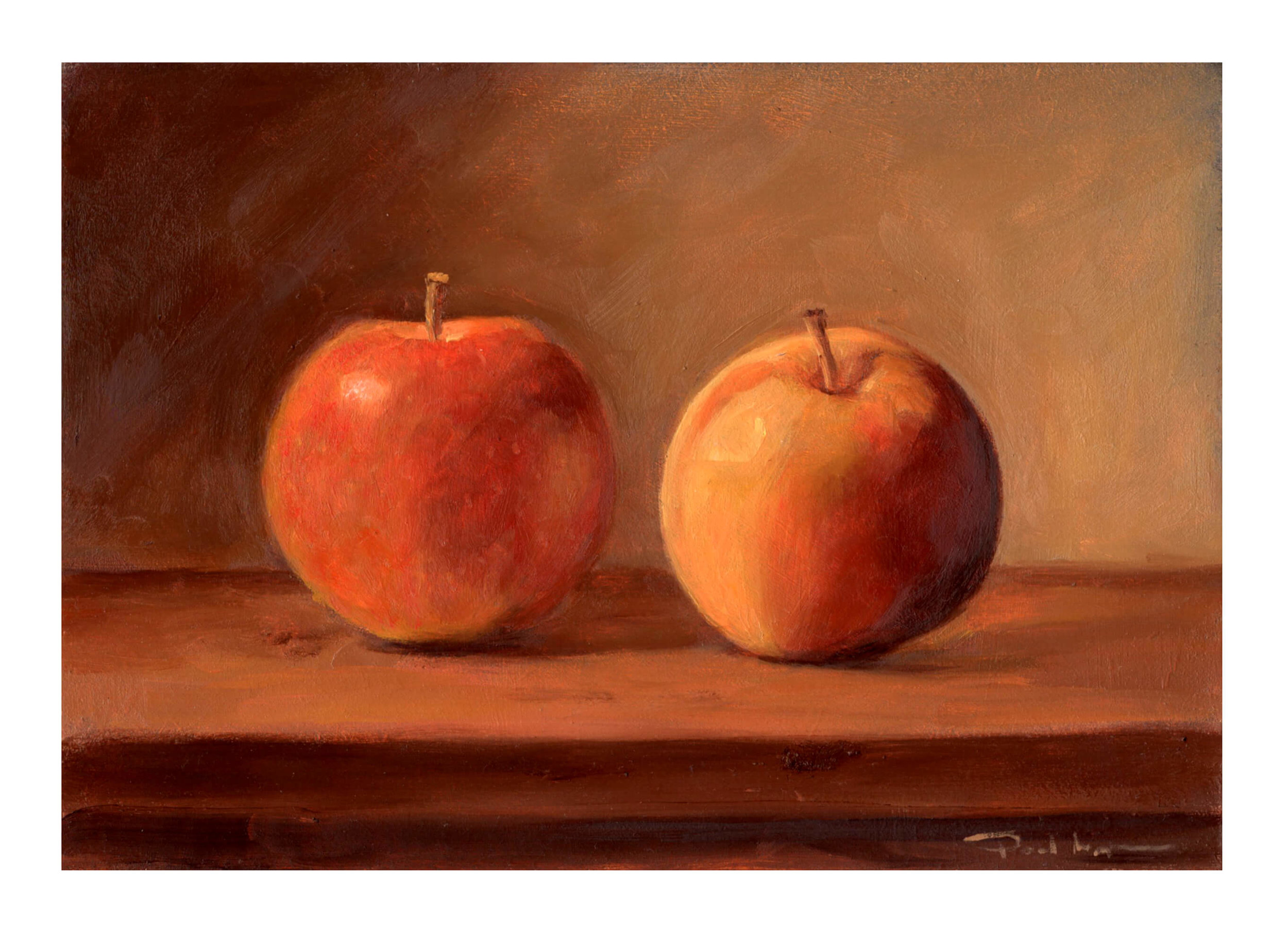 Two Apples - Oil on BoardImage size 148x210mm£250